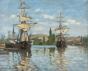 Claude Monet (French, 1840 - 1926 ), Ships Riding on the Seine at Rouen, 1872/1873, oil on canvas, Ailsa Mellon Bruce Collection